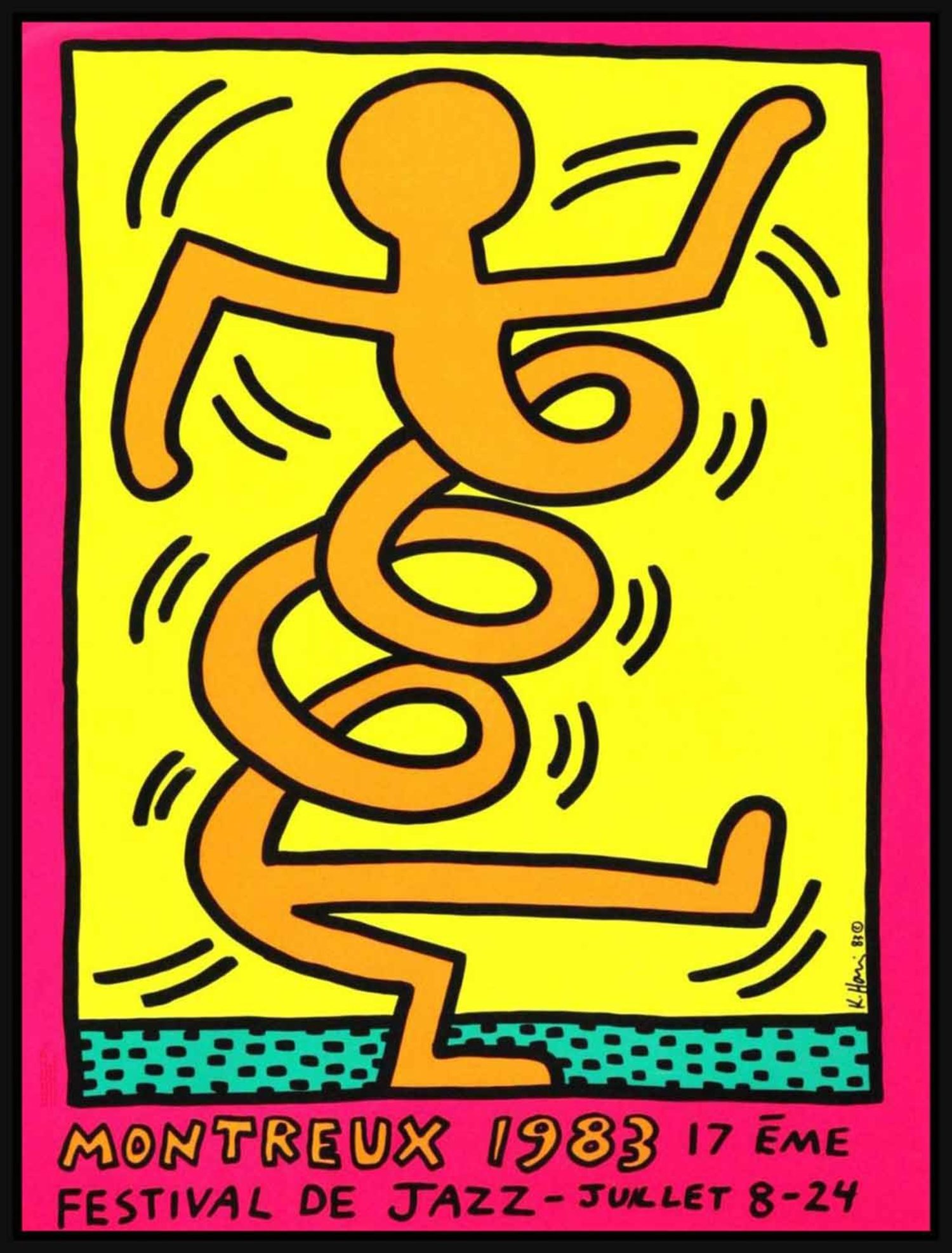 Keith Haring – Montreux Jazz Festival, 1983 (Pink)… | Hang-Up Gallery
