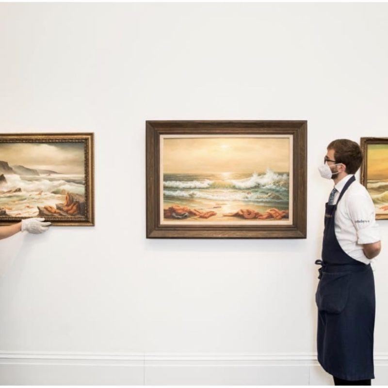 Banksy Triptych Sells at Auction for Charity