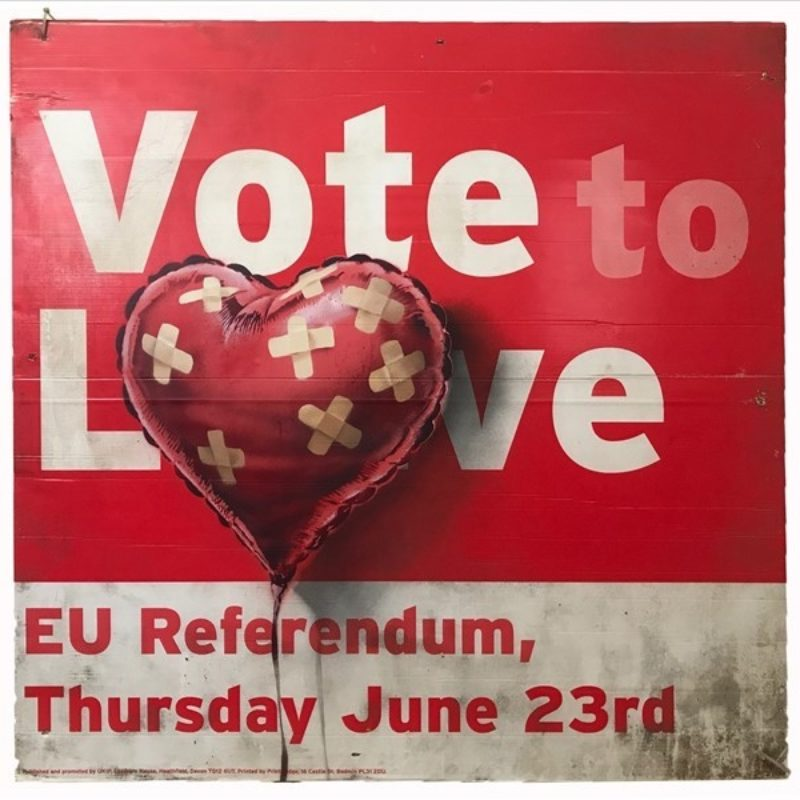 Banksy's 'Vote to Love' Placard Sells for Over One Million at Sotheby's
