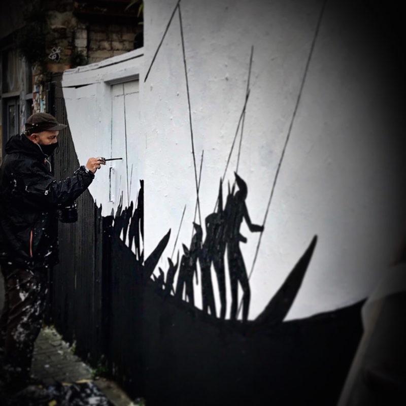 Spanish Street Artist David de la Mano   New Mural In Brick Lane